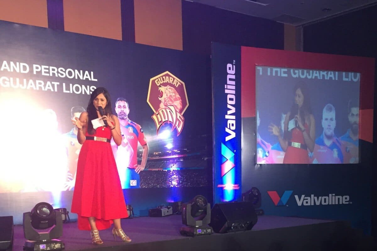 Emcee Reena with Valvoline Partners & IPL Team Gujarat Lions