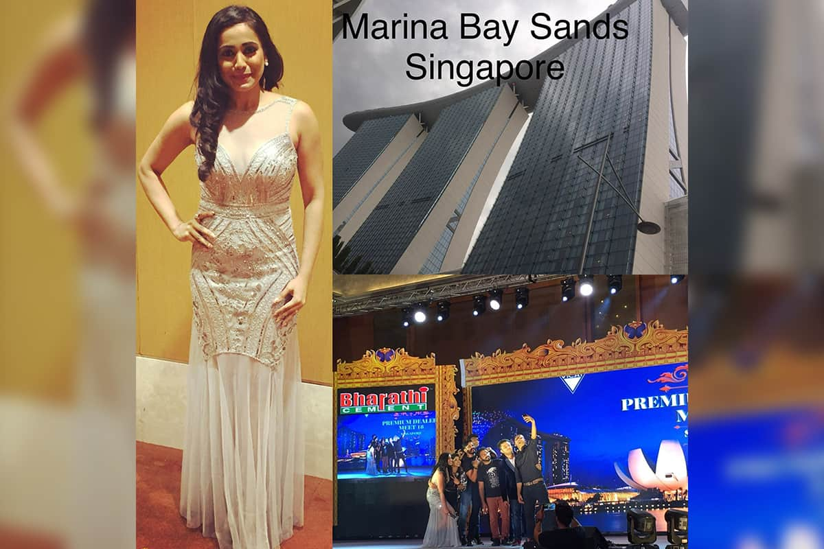 India's best anchor Reena hosted Bharathi cements premium dealers meet in Marina Bay Sands Singapore
