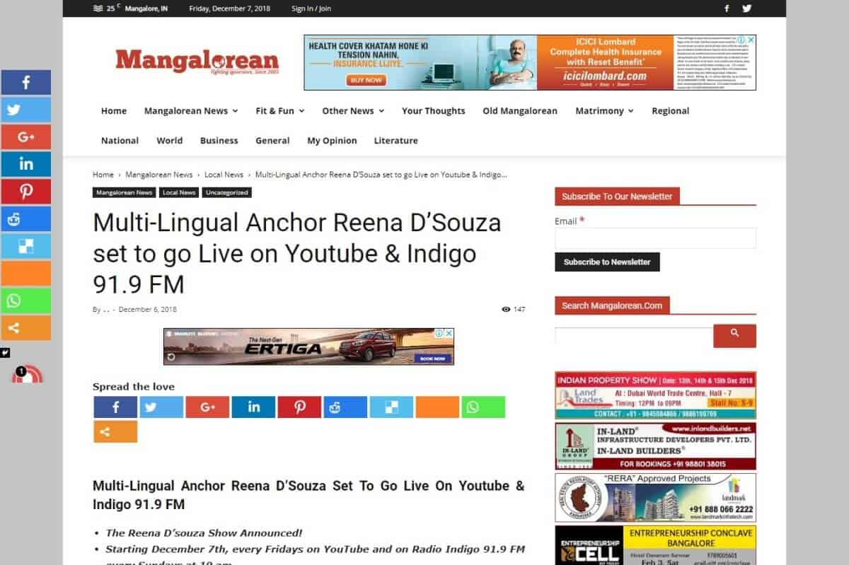 Reena in the media youtube Indigo