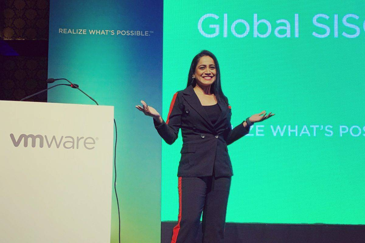 Corporate event anchor Reena Dsouza hosted VMware Global SISO Summit 2019 in Bangalore